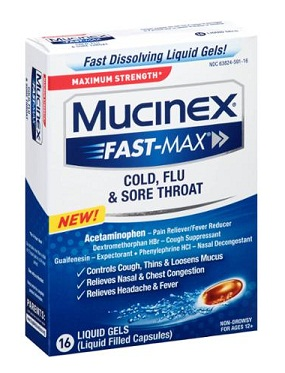 medicines for sore throat-Mucinex cold, flu and sore throat